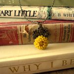 mustard yellow flower necklace