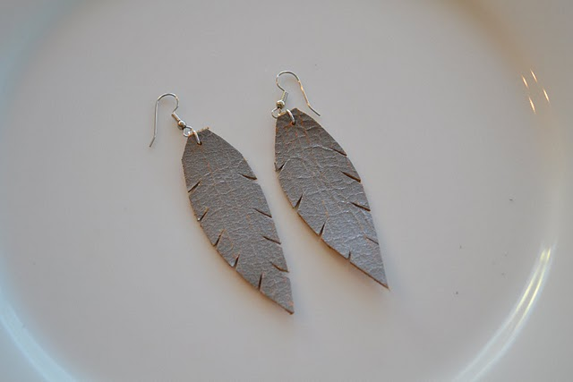 crafty jewelry: leather feather earrings tutorial