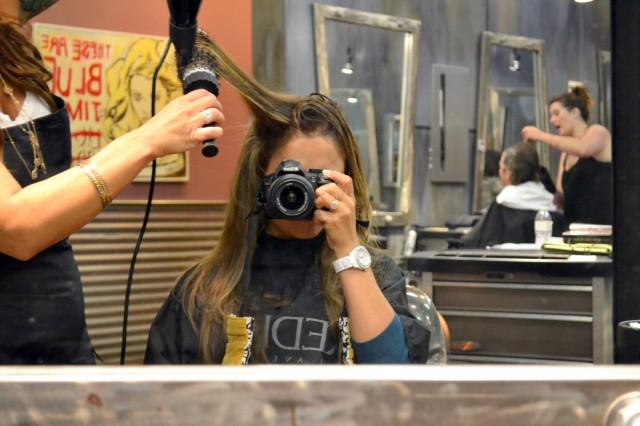 Round brush hair style