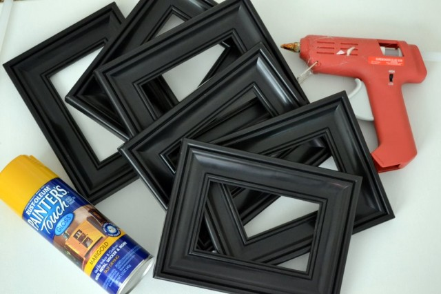 6 46 plastic frames from the dollar tree spray paint hot glue gun and e 600 glue 3 sheets of colored card stock 3 sheets of white card stock glue stick