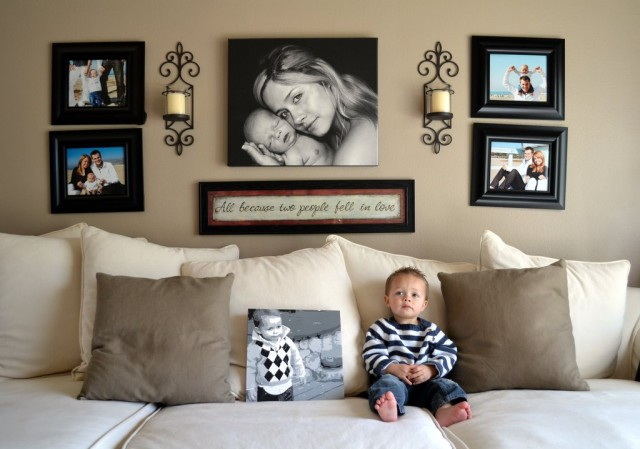 Wall Sconces Over Couch : A Look At My Walls: Ideas for hanging home decor - DIY, Home Decor - Little Miss Momma