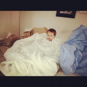 Lil W in blankets