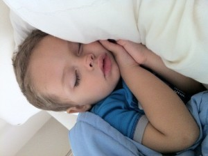 sleeping baby after surgery