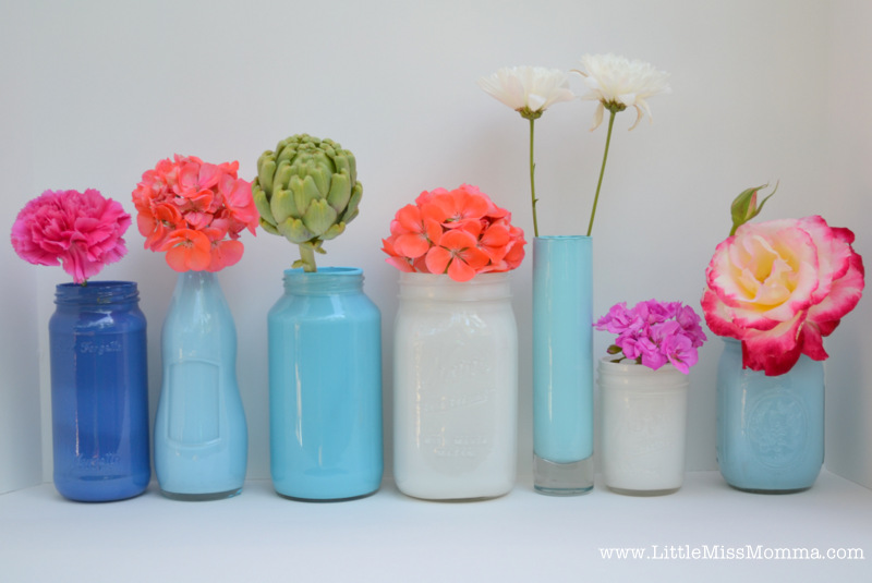 Diy Painted Mason Jar Vases Crafts Diy Home Decor Party Ideas Tutorials Little Miss Momma