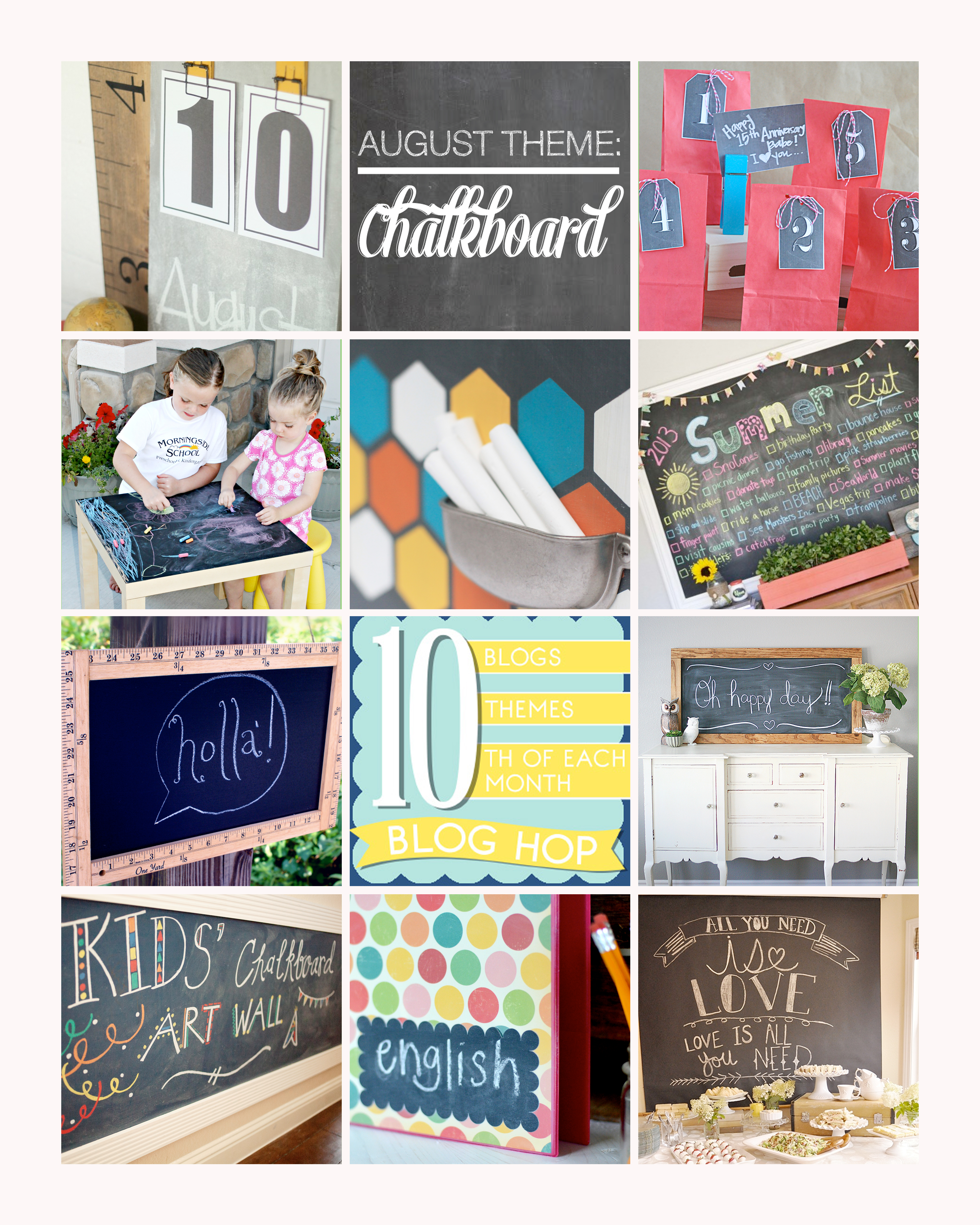 Kids Chalkboard Art Wall + 9 other chalkboard projects
