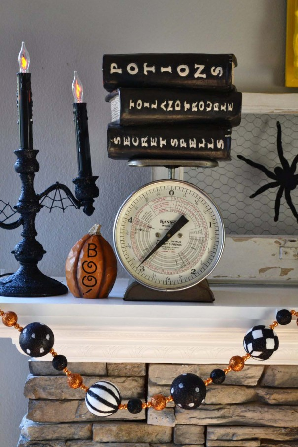 halloween decor fireplace