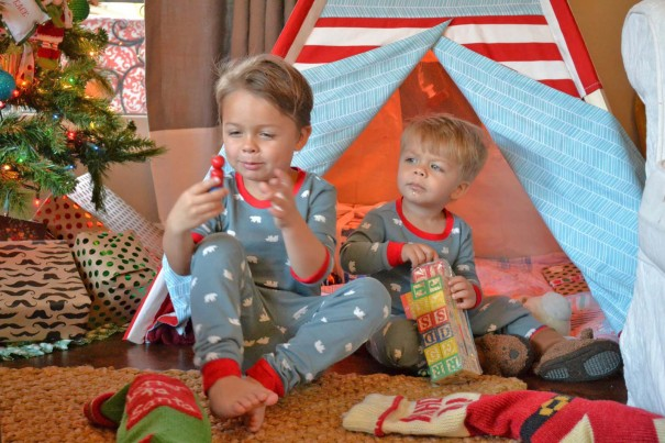 boys opening presents