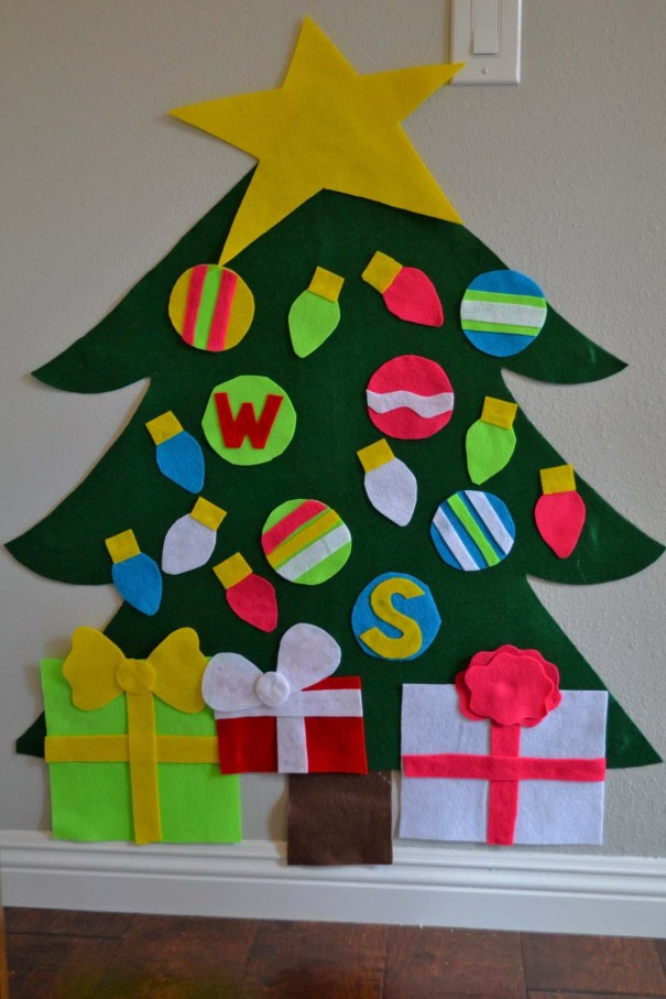 felt christmas tree with ornaments diy
