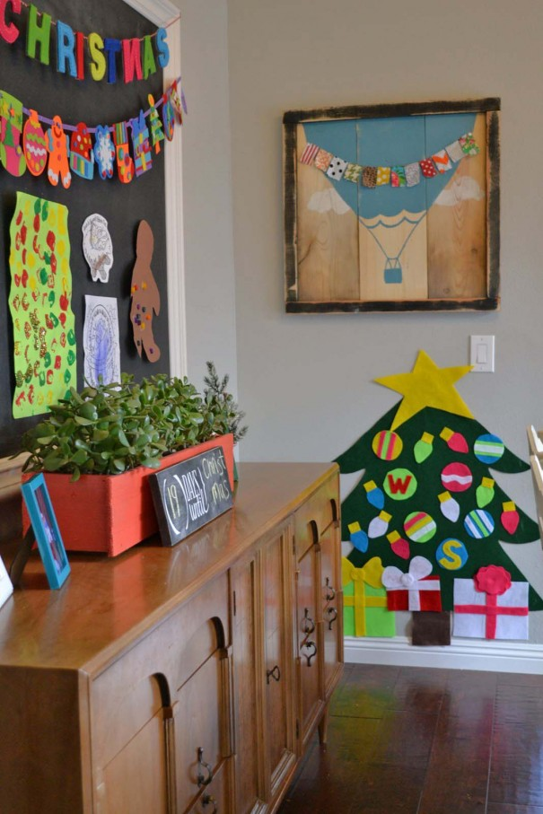 felt tree and chalkboard