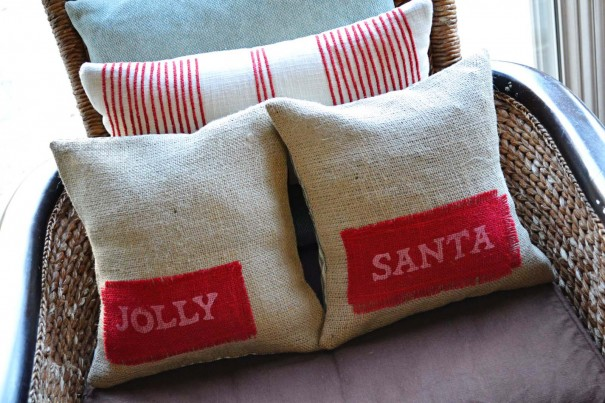 santa burlap pillow