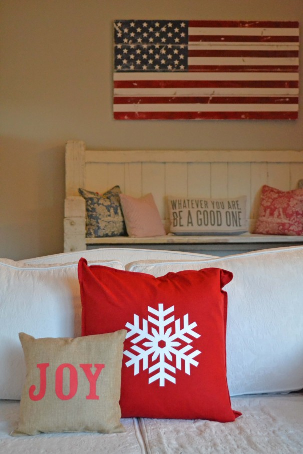 snowflake and joy pillow