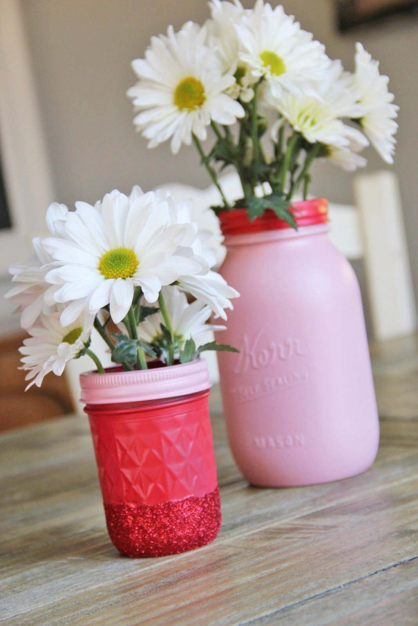 mason jar vases with glitter