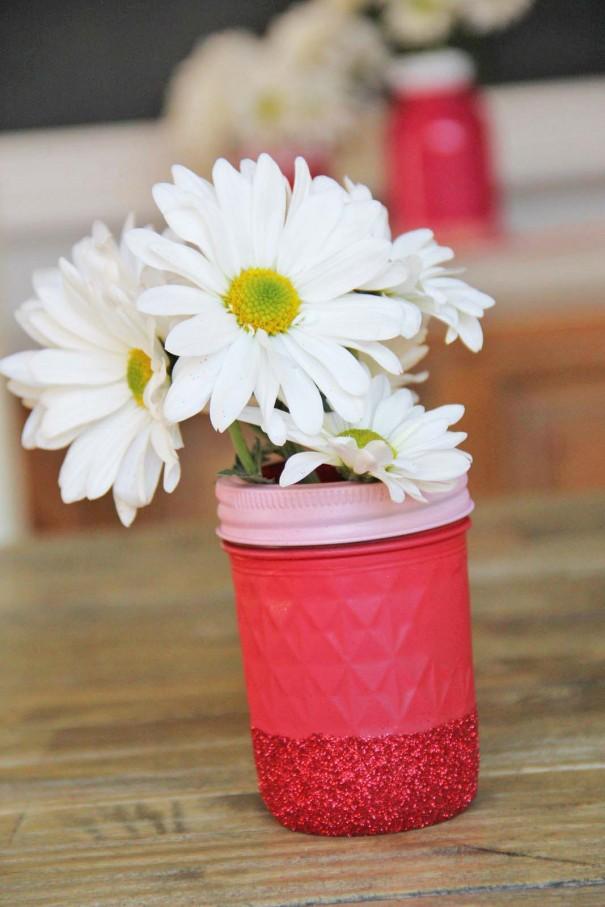 red glitter mason jar vase