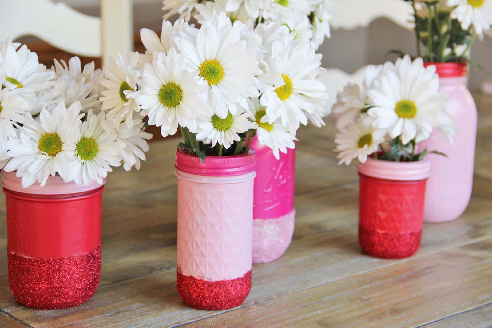 Diy Glitter Mason Jar Vases Craft Little Miss Momma