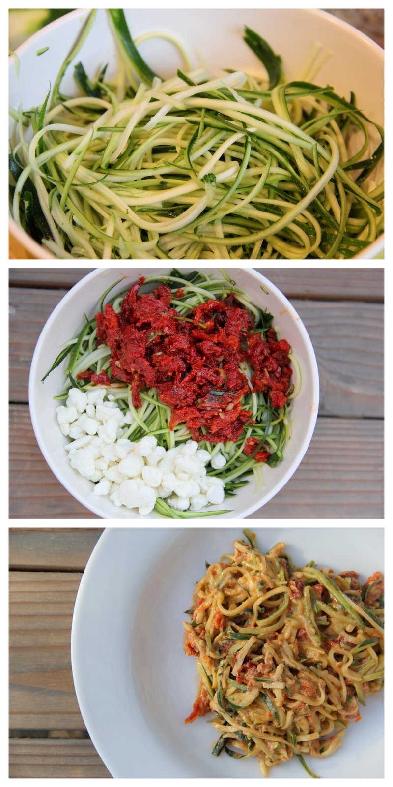 Zucchini Spaghetti with Goat Cheese and Sun Dried Tomatoes - eat ...