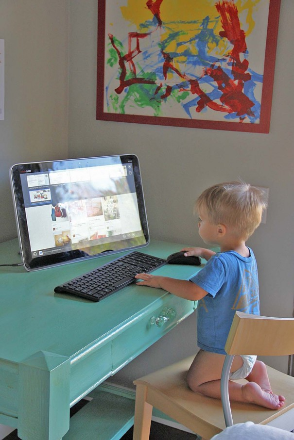 sawyer at computer