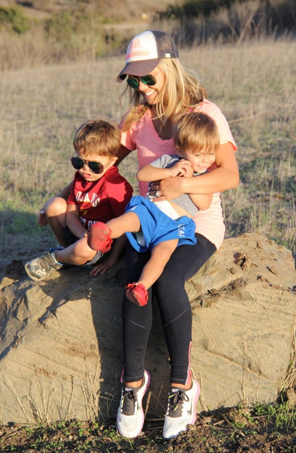 mom and boys hike