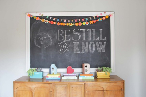 be still and know chalk art