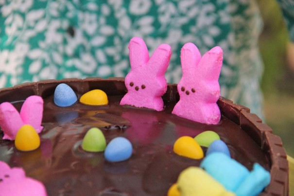 peeps hot tub cake chocolate