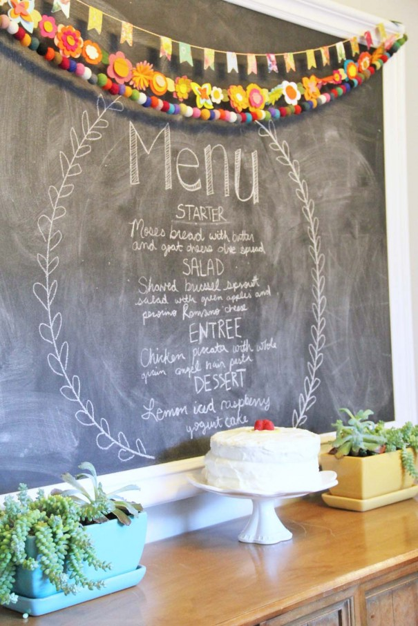 dinner party menu chalkboard