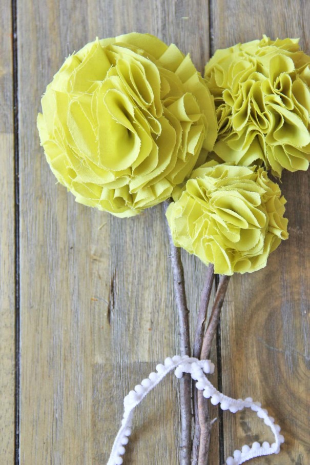 fabric pom pom flowers