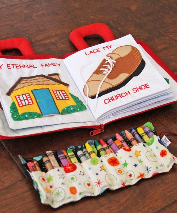 quiet book and crayon roll