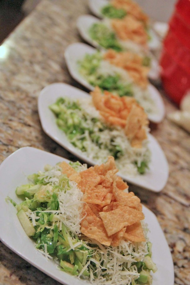 shaved brussel sprout salad with peccorino romano cheese and green apples