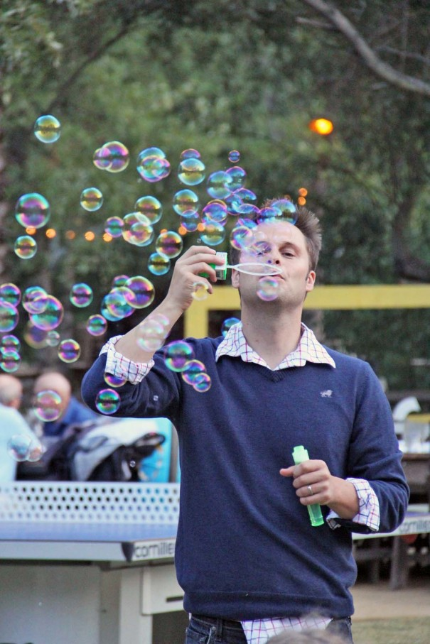 ben blowing bubbles