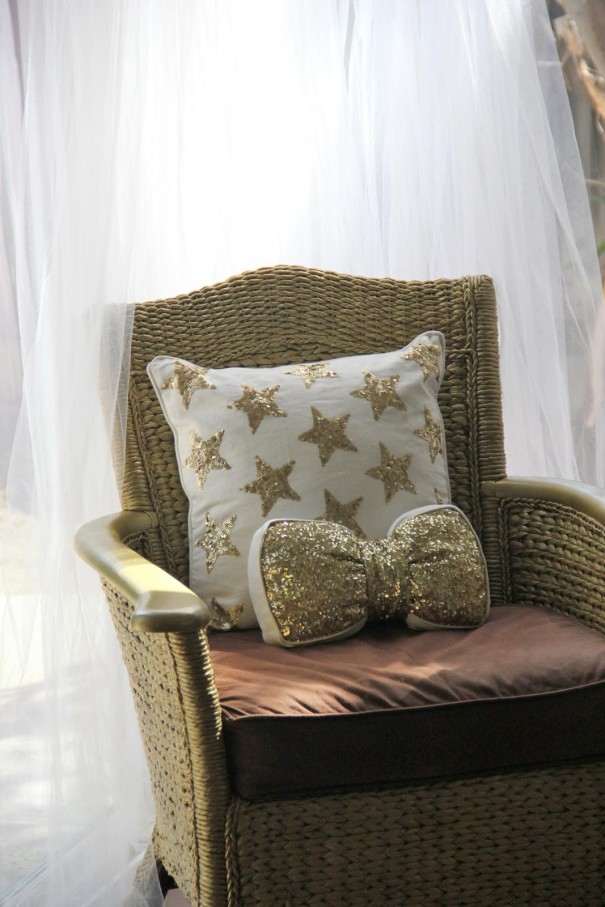 gold baby shower chair