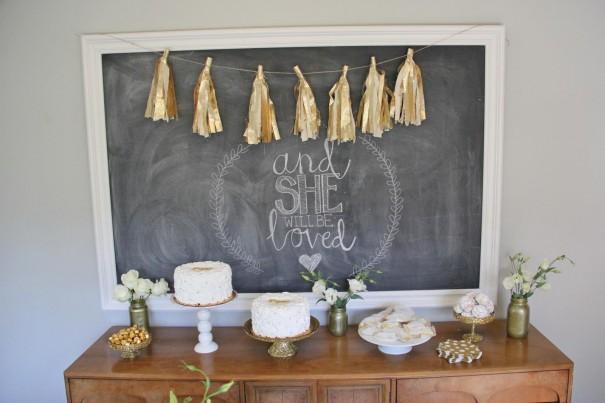 gold dessert table