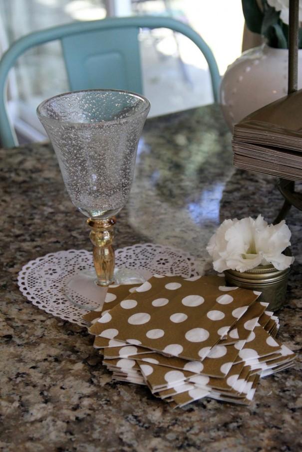gold polka dot napkins