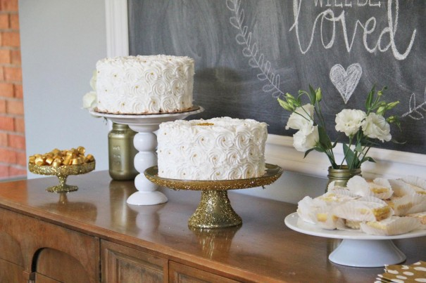 white and gold cakes