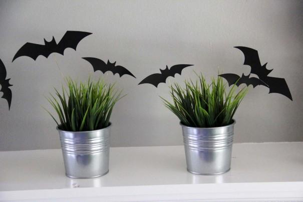 halloween bats in grass