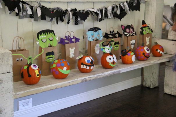 kids decorated pumpkins