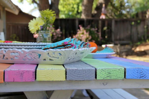 colorful painted picnic table