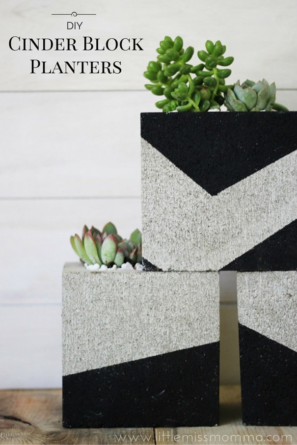 Attractive DIY Painted Cinder Block Planters BQ09