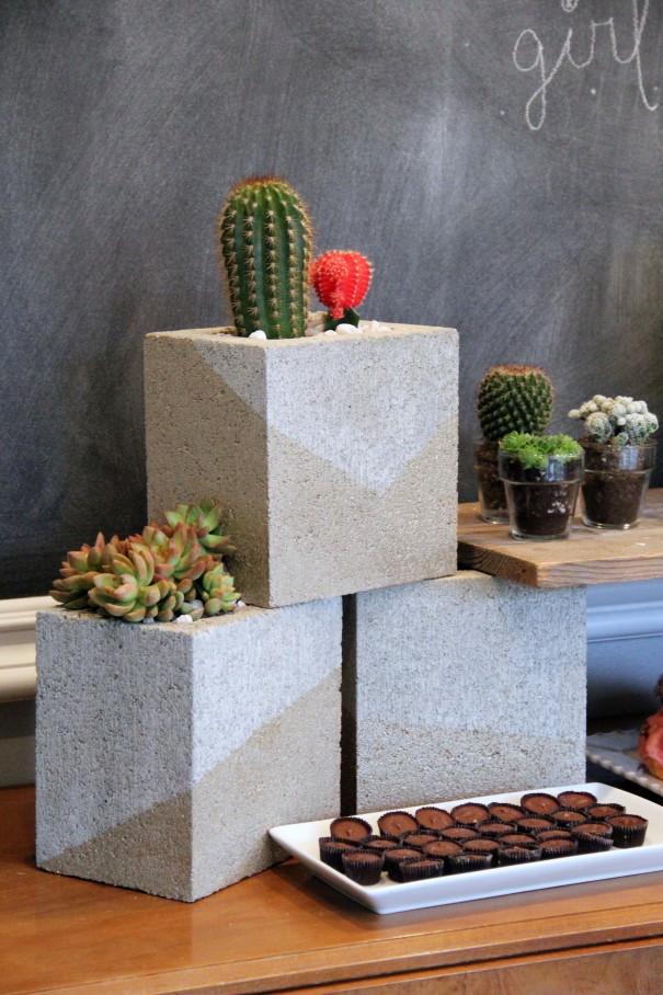 cinder block planter cacti diy