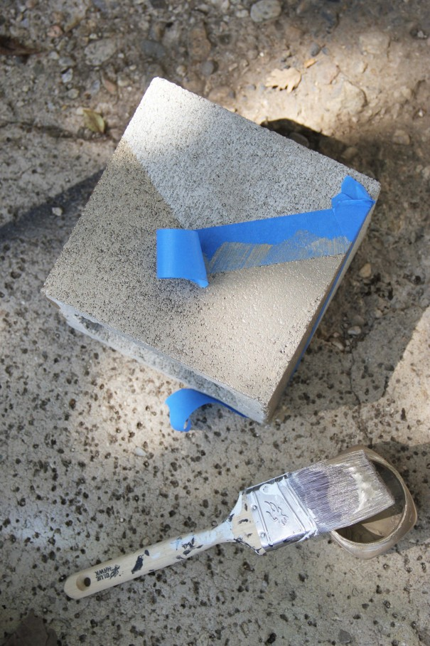 cinder block taped for paint