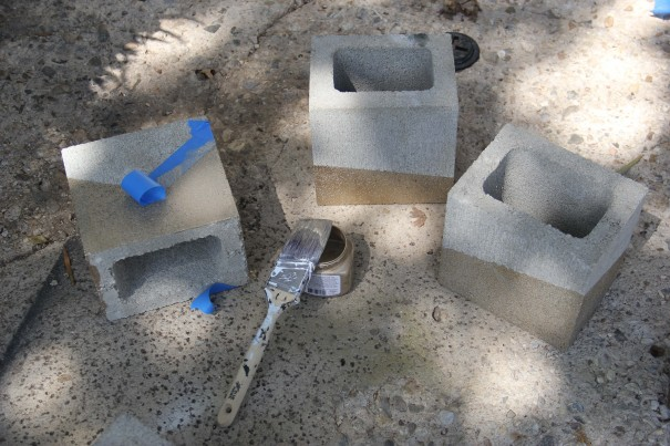 cinder blocks taped
