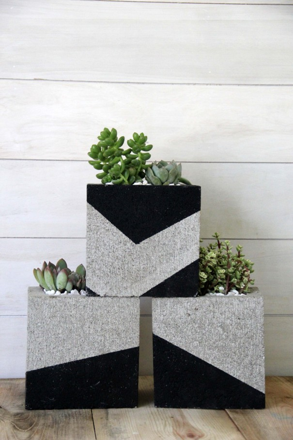 diy cinder block planter for succulents