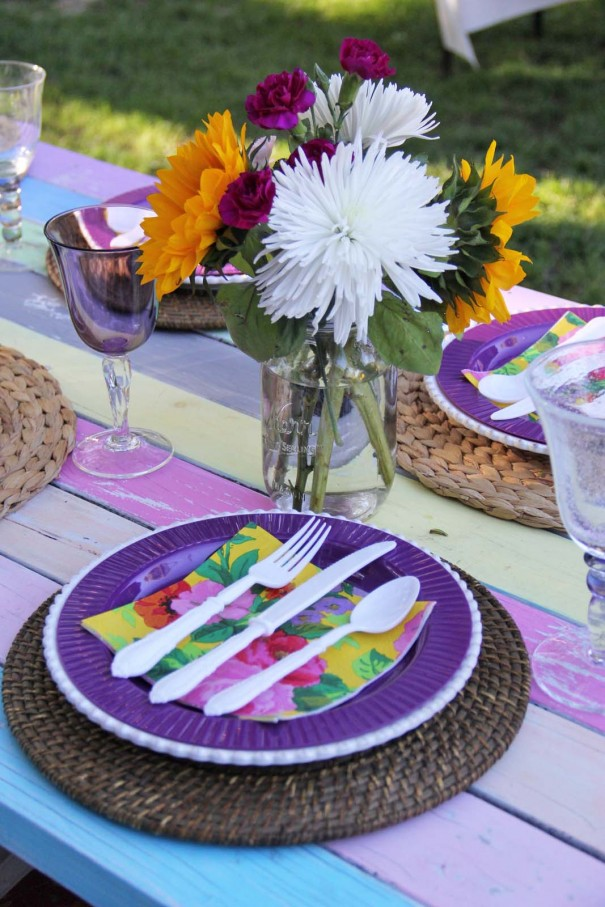 floral dinner party place setting