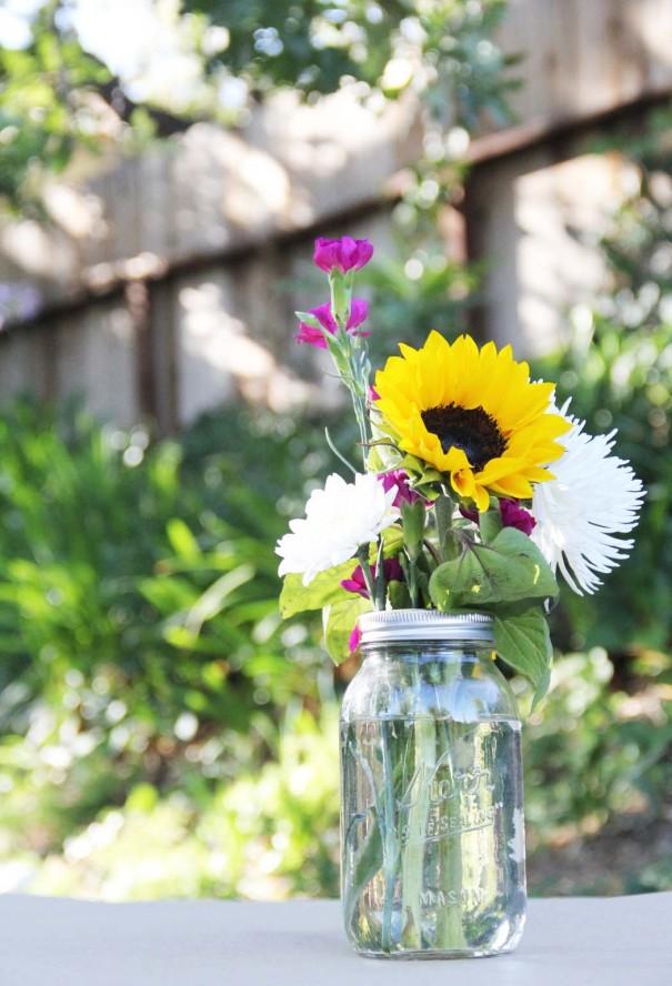 mason jar spring flowers