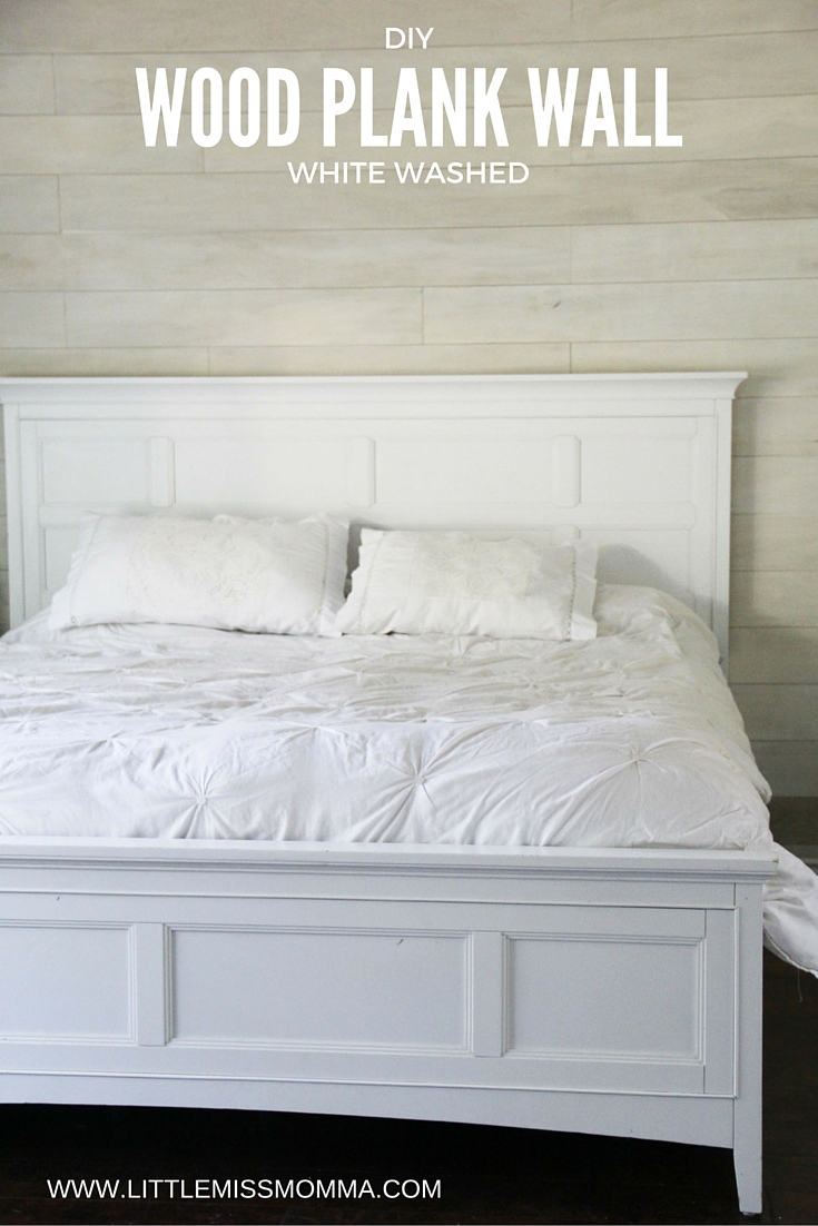 how to make a white washed wood plank accent wall little miss momma bloglovin. Black Bedroom Furniture Sets. Home Design Ideas